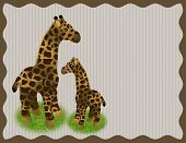 Постер, плакат: Mother and Baby Giraffe Background