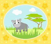 foto of rhino  - Safari background card with one wild rhino - JPG