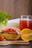 pic of smoked ham  - Wholemeal roll with smoked cheese cherry tomatoes and prague ham - JPG