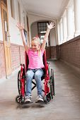 picture of disability  - Cute disabled pupil in hall at the elementary school - JPG