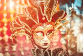 stock photo of venice carnival  - Venetian masks on the marke in Venice - JPG