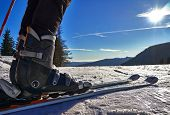 stock photo of ski boots  - Winter sports concept with snow skier boots - JPG