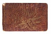 picture of crocodile  - Old Crocodile Skin Leather Autograph Book 1885 with Gold Scroll Lettering - JPG