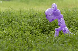 picture of animal teeth  - Purple balloon animal dinosaur with teeth and eyes looking scary in the lush green grass of a back yard  - JPG
