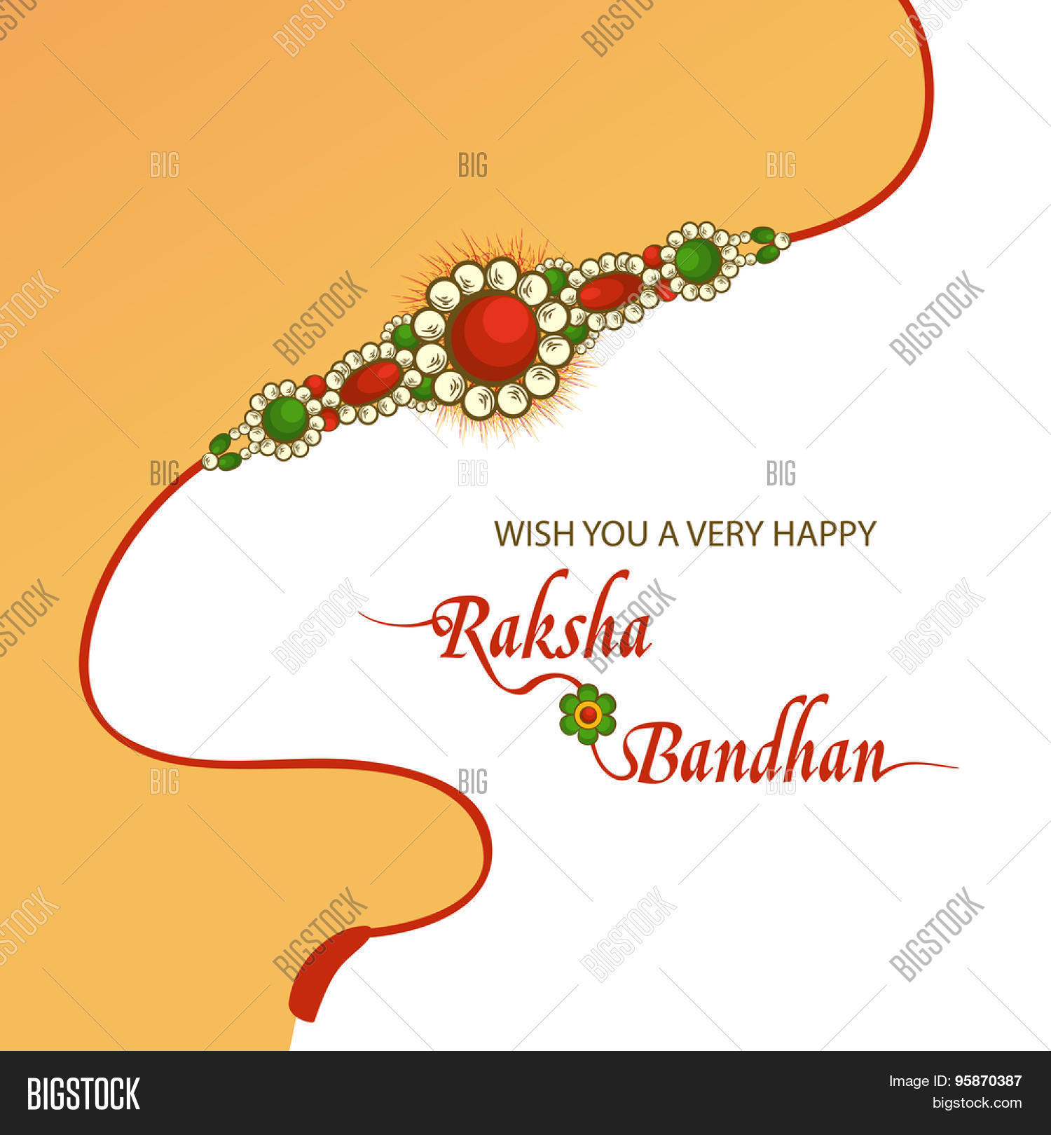 Indian Festival Decoration Elegant Greeting Card Design Decorated With Beautiful Rakhi On