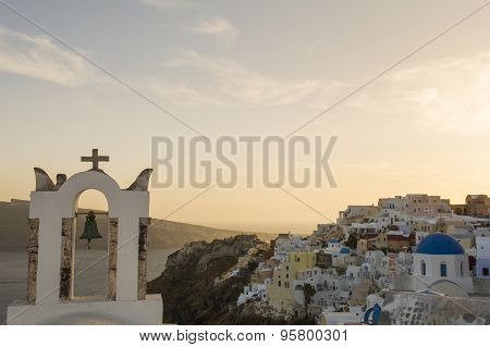 Church bell tower, Oia, Santorini, Greece