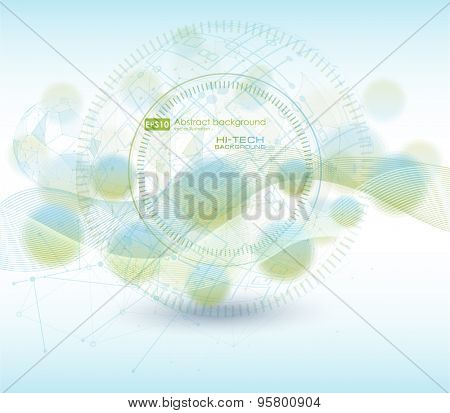 Wireframe mesh polygonal element. Abstract form with connected lines and dots. infographic elements. Vector science Polygonal background. Futuristic HUD background. Abstract vector background