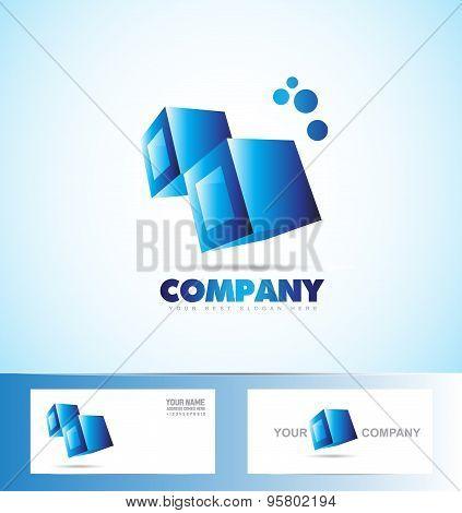 Cubes 3D Blue Logo Icon