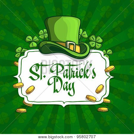 Template design banners, logos, signs, posters for St. Patrick's Day. Hat, clover and coins in carto