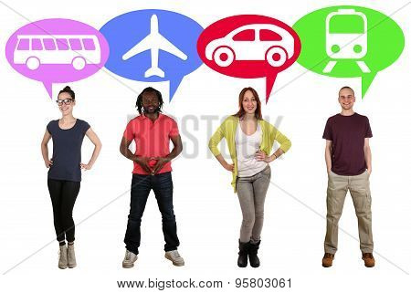 Group Of Young People Choosing Bus, Train, Car Or Plane