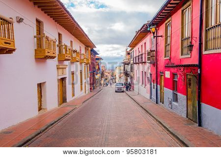 Very charming colorful street with spanish influenced architecture located in the old parts of Bogot
