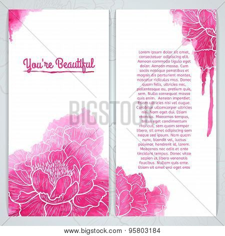 Vertical greeting card template. Silhouette of peony and watercolor texture. Place for your text. Ve