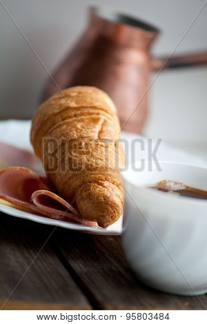 Continental Breakfast With Croissant And Coffee, Soft Focus