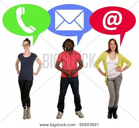 Group Of Young People Choosing Communication Telephone, Mail Or E-mail Online