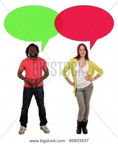 Young People Man Woman Talking With Speech Bubble And Copyspace