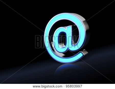 Abstract E-mail Symbol With Neon Light