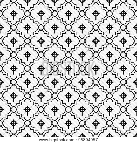 Black And White Celtic Cross Symbol Tile Pattern Repeat Background
