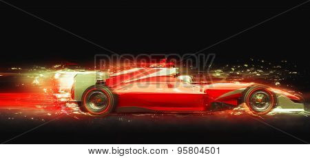 Red Race Car With Light Effect