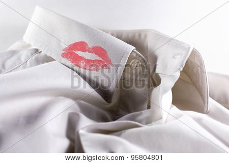 White Used Shirt And Red Lipstick