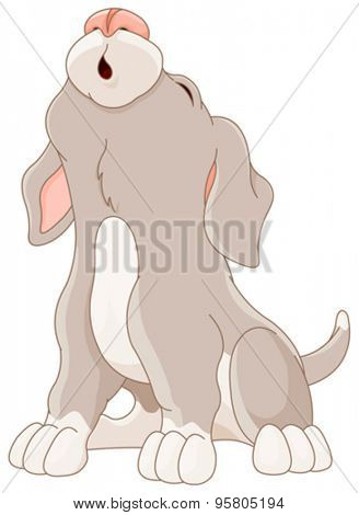 Illustration of cartoon puppy are howling