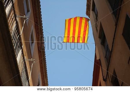 Catalonia flag is waving on the wind