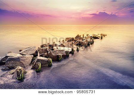 Golden Hour, Peaceful Sea Landscape After Sunset.