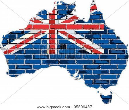 Australia map on a brick wall