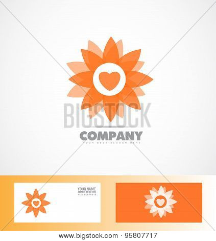 Abstract Orange Flower Icon Logo