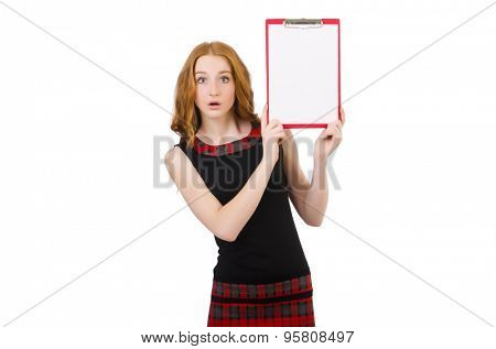 Cute girl in squared dress holding paper isolated on white
