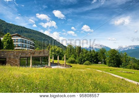 OBERSALZBERG, GERMANY - JUNE 22: View of Mountains on Sunny Day from Grounds of Kempinski Berchtesgaden Hotel, a 5 Star Luxury Hotel High in Remote Bavarian Alps, Obersalzberg, Germany, June 22, 2015