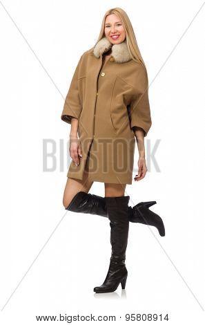 Blond hair girl in coat isolated on white