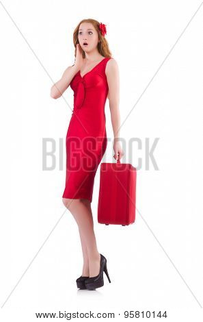 Pretty young girl in red dress holding trunk isolated on white