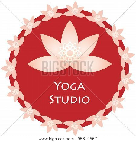 Yoga ornamental emblem. Vector lineart logo template for relax or spa center, yoga studio, healthcar