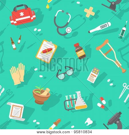 Flat Seamless Pattern With Medicine Icons
