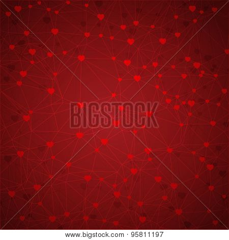 Abstract geometric background of lines and hearts. Web pattern. Vector.