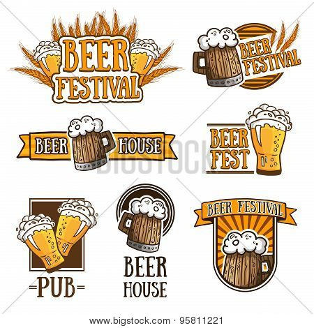 Set of color logos, icons, signs, badges, labels and beer. Template design for a bar, pub, beer fest
