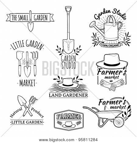 Set of vintage monochrome retro logos, badges, badges, labels. Shop garden, farm, organic garden. Ve