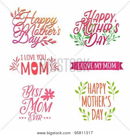 Set of color and volume of simple retro logos, badges, labels, signs to celebrate Mother's Day. Flor