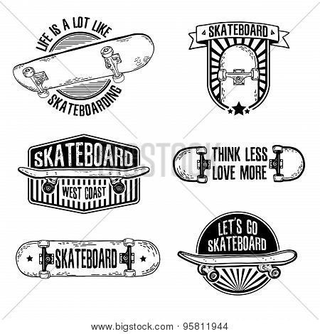 Set of vintage black and white logos, badges, badges, labels, stickers with skateboard and cap. Retr