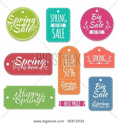 Set of colored spring stickers, labels, labels, coupons. Spring discounts, promotions, offers. Vecto