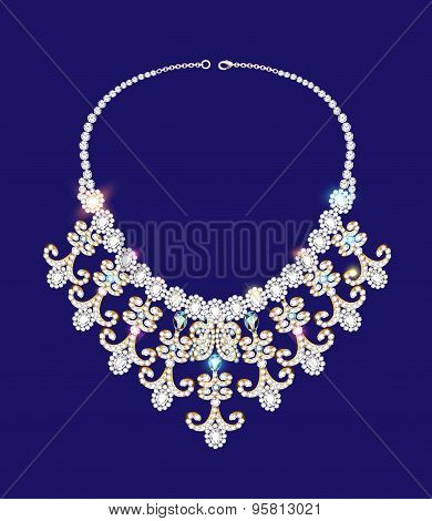 illustration of a woman's necklace with precious stones on blue