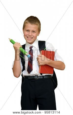 smiling schoolboy with book and pencil