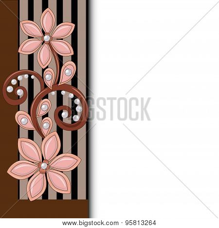 illustration background with floral ornament and pearls