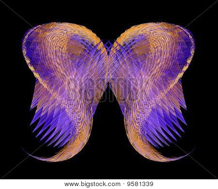 Mythical Angel Wings In Gold And Purple