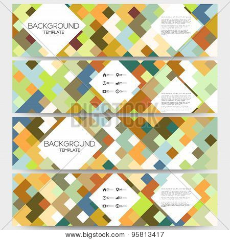 Web banners collection, abstract header layouts. Abstract colored backgrounds with place for text, s