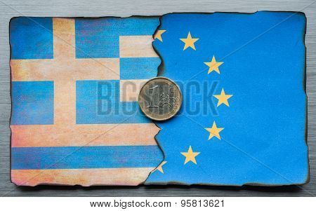 Greek and European flag dividing concept
