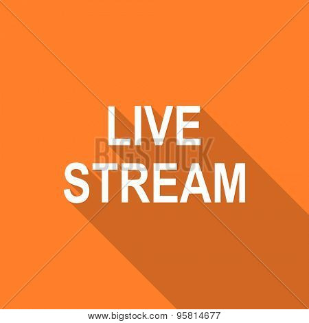 live stream flat design modern icon with long shadow for web and mobile app