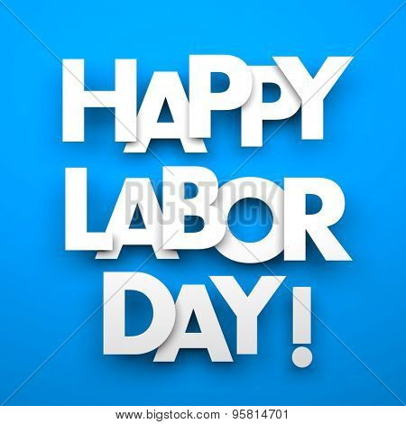 Happy labor day - word hanging on the ropes