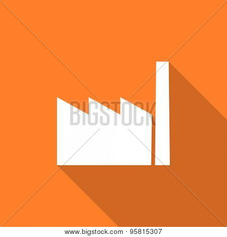 factory flat design modern icon with long shadow for web and mobile app
