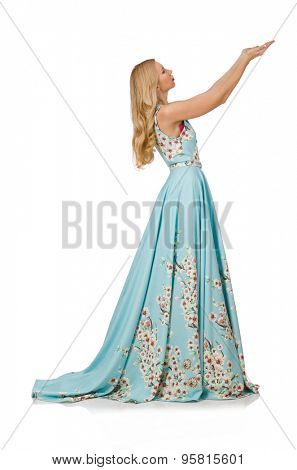 Woman in blue long dress with flower prints isolated on white